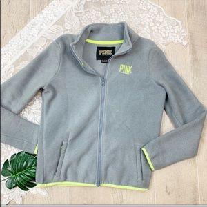 PINK Vs Full Zip Mock Neck Fleece Sweatshirt XS